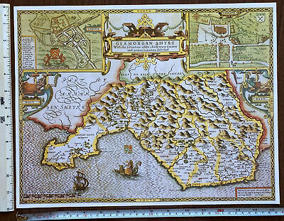 £9.99 • Buy Old Tudor Poster Map Glamorgan, Cardiff, Wales 1600s 15  X 12 Reprint Antique