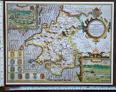 £9.99 • Buy Old Tudor Poster Map Pembrokeshire, Wales 1600s 15  X 12 Reprint Antique Speed