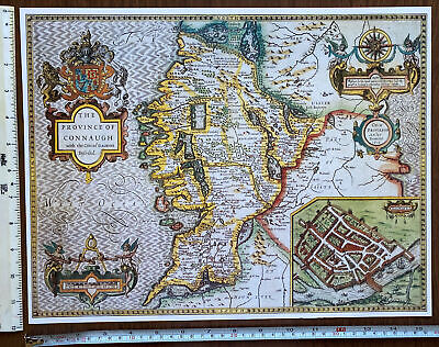 £9.99 • Buy Old Tudor Poster Map Connaught Galway, Ireland 1600s 15  X 12 Reprint Antique