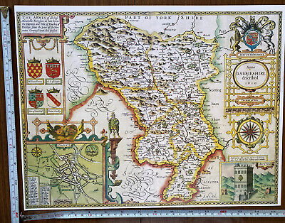 £9.99 • Buy Old Tudor Poster Map Of Derbyshire Derby Speed 1600's 15.5  X 12 Reprint Antique