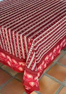 $ CDN48.47 • Buy Vintage April Cornell Tablecloth Red Leaves Acorn Christmas Hand Blocked