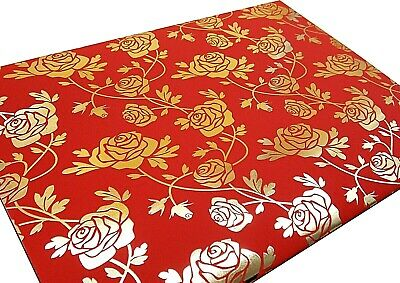 Gold Foil Roses On Red Gift Wrap Wrapping Paper 2 Sheets 2 Tags Birthday Present • 2.25£