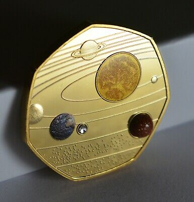 SOLAR SYSTEM 24ct Gold Commemorative. Colour, Gemstone & Crystal. Moon/Mars/Sun • 8.99£