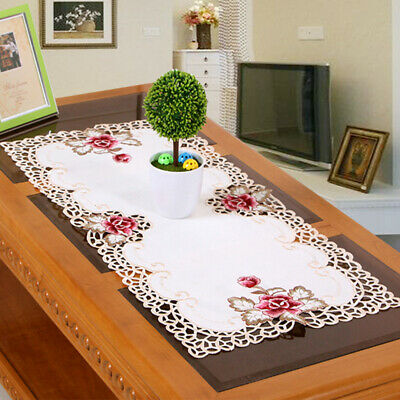 £6.70 • Buy Rectangle Embroidered Tablecloth Flower Coffee Table Cloth Doily Satin Cover