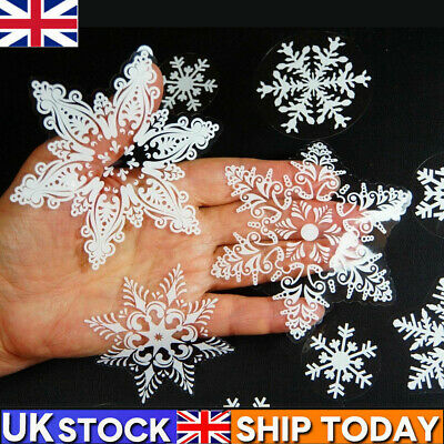 Large Glitter Christmas Window Decorations Stickers Snowflake Door Cling Decal • 5.89£