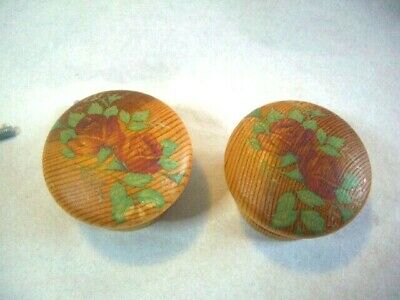 Shabby Chic Door Knobs Floral Wooden Vintage Roses Flowers 45mmx30mm (L35) • 4.75£