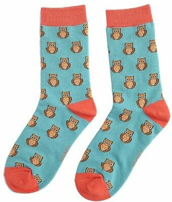 Ladies Bamboo Socks Owl Owls Design Turquoise Novelty 4-7 Miss Sparrow • 6.45£