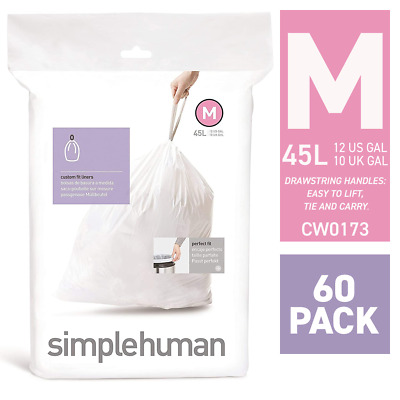 simplehuman Code Q Custom fit bin Liners 3 x Pack of 20 White 60 Liners