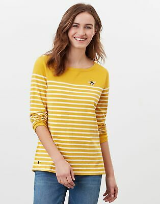 Joules Womens Harbour Long Sleeve Jersey Top - Gold Creme Stripe • 29.95£