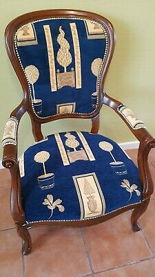 £120 • Buy Victorian Style Chair Re-upholstered In Blue & Gold