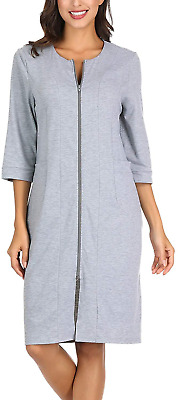 Womens Dressing Gown Slim Fit Zip-Front Cotton Robe Zipper Bathrobe Grey XXL • 29.82£