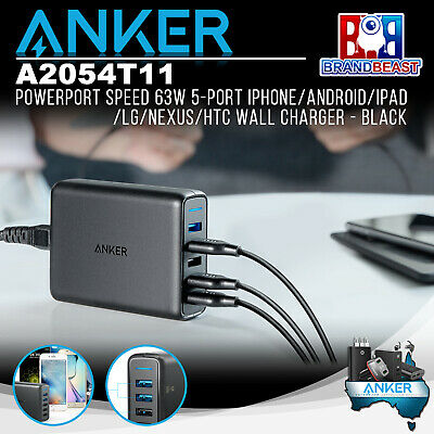 AU89.95 • Buy Anker A2054T11 PowerPort Speed 63W 5-Port IPhone/Android/iPad Wall Charger Black