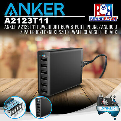 AU63.26 • Buy Anker A2123T11 PowerPort 60W 6-Port IPhone/Android/iPad Pro Wall Charger - Black