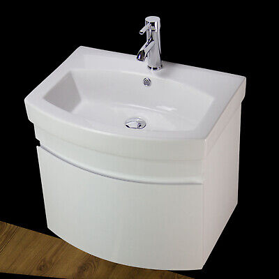 Vanity Unit Cabinet Basin Sink Wall Hung Mounted Bathroom 500 MM Tap Waste WHR50 • 179.99£