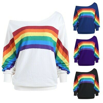UK Women Rainbow Pullover Off Shoulder Casual Long Sleeve Jumper Sweatshirt • 12.99£