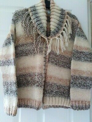 HAND Knitted Ladies Cardigan, New, Chunky Beige Toned Wool Chest 36/38 • 14.50£