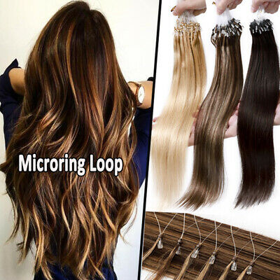 £31.50 • Buy 100% Remy Human Hair Micro Ring Beads Loop Human Hair Extensions Ombre Thick 1g