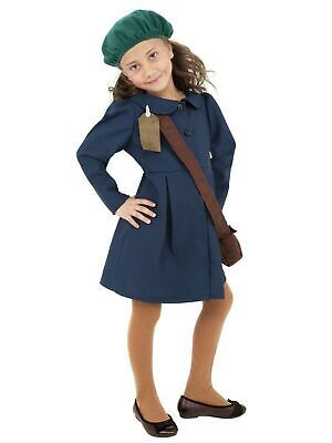 Smiffys World War II Evacuee Girl Costume, Blue, With Dress, Hat & Bag, Small • 25.99£