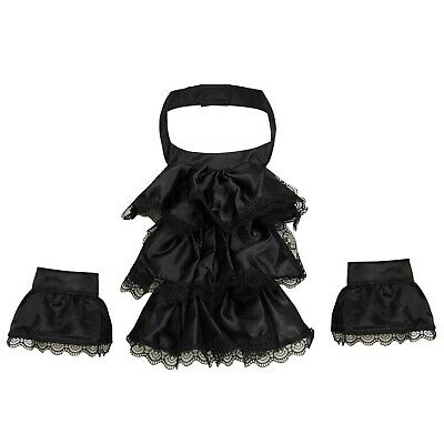 Dream Cosplay Victorian Unisex Lace Jabot Collar And Cuffs Adult Black • 31.99£