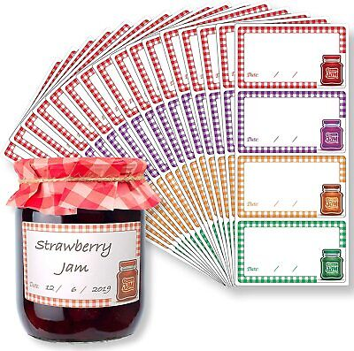 Jam Jar Labels - Self Adhesive Easy Peel Off Waterproof Jam Labels (8.75 X 5cm) • 13£