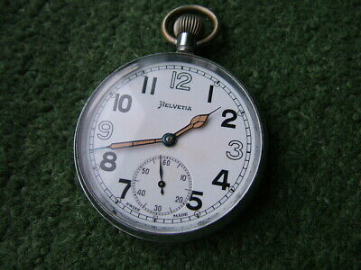 1940s HELVETIA GS/TP WW2 MILITARY POCKET WATCH - GOOD WORKING ORDER • 129£
