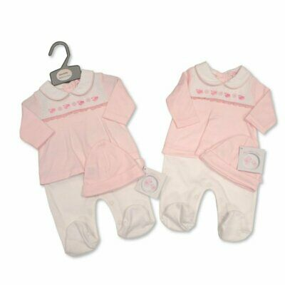 NEW Baby Girls Spanish Style Romany Smocked All In One Romper Suit & Hat Outfit • 12£