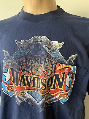 $ CDN45.73 • Buy Vtg Harley Davidson T Shirt 80s 90s Pocket Tee Holoubek Single Stitch USA Rare