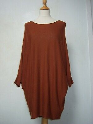 Phase Eight Slouchy Jumper M Dark Tan Fine Knit With Wool, Short Batwing Sleeves • 12.99£