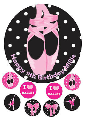 Ballet Dancer Edible 7.5 Inch Round Iced Icing Cake Topper + 8 Cupcake Toppers • 4£