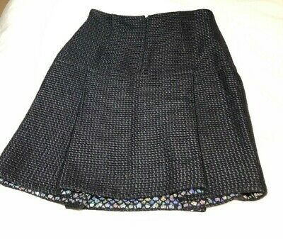 £230.10 • Buy Chanel Black Tweed Silk Blend Midi Skirt Silver Sequin Accents Size 42 $2495