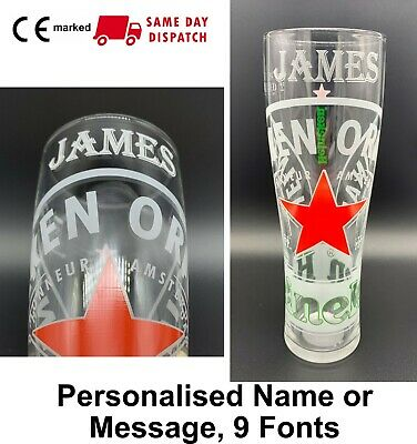 Personalised Heineken Red Star Lager Pint Glass New 20oz Nucleated Engraved Gift • 13.99£