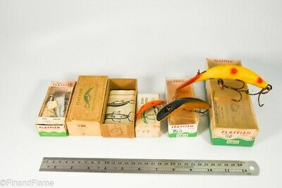 $ CDN4.59 • Buy Vintage Lot Of Helin Flat Fish Musky To Fly Antique Fishing Lure In Boxes LC66