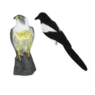 2x Falcon & Magpie Decoy Hunting Bait Shooting Trap Pest Control Scarecrow • 14£