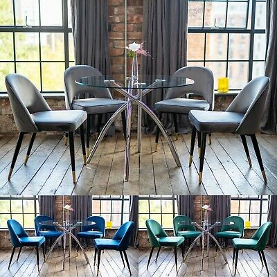 AU569.55 • Buy Cecelia Luxury Dining Table Set With A Choice Of Scoop Dining Chairs Round Glass