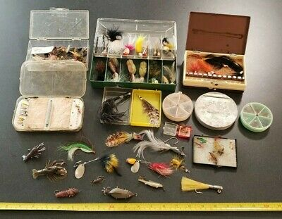 $ CDN30.71 • Buy Huge Lot Of Vintage Fly Fishing Lures & Fly Boxes Fishing Lures Lot