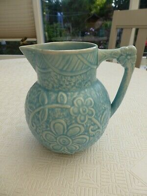 Art Deco Price Brothers 'marina' Blue Floral Patterned Water Jug   1590478/485 • 9.99£