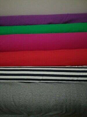 £6.25 • Buy Cotton Jersey Stretch Fabric PLAIN SOLIDS AND STRIPES