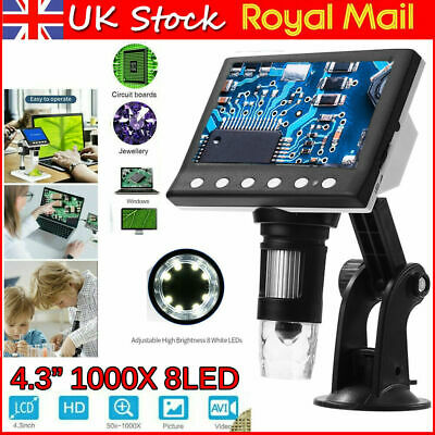 Real 1080P LCD Electronic Digital Video Microscope Monitor LED 1000X Magnifier  • 26.95£