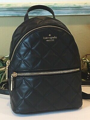 $ CDN164.92 • Buy Kate Spade Natalia Mini Convertible Backpack Bag Quilted Black Leather $339