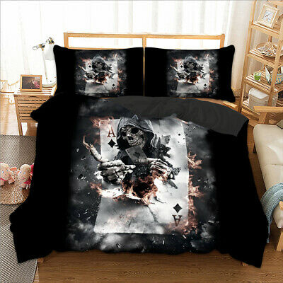 3D Skull Duvet Cover Bedding Set With Pillow Cases Single Double King All Sizes • 25.95£
