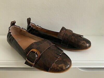 FITFLOP Bronze Brown Snakeskin Buckle Slip On Loafers Shoes  EU 41 UK 7 : NEW • 4.99£
