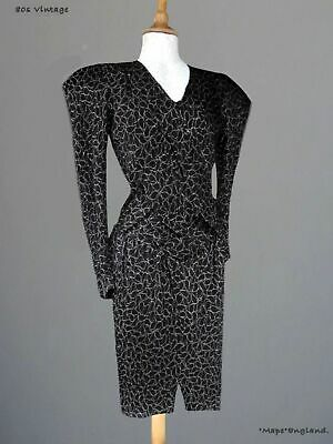 80s Vtg  JACK ASTRID  POWER DRESS BLK  BUBBLE FABRIC With GOLD STITCHING 34 B   • 19.99£