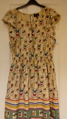 Quirky Yumi Size 8 Postage Stamp Dress Hot Air Balloons Butterflies. • 3£