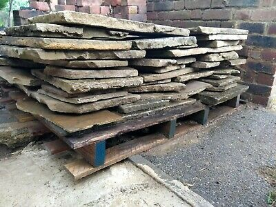 York Stone Paving Slabs, Approx 12 - 14 Sq M Different Sizes. Job Lot • 200£