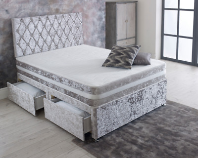 Crushed Velvet DIVAN BED SET + Memory Mattress + 24  CHESTERFIELD HEADBOARD • 274.99£