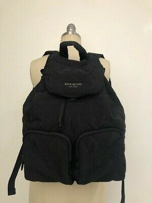$ CDN117.59 • Buy Authentic NEW KATE SPADE Black Nylon Quilted Large Backpack
