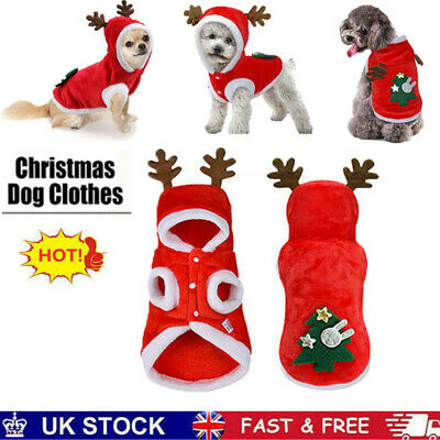 Pet Cat Santa Costume Dog Christmas Small Coat Outfit Clothes Hoodie Jumper Xmas • 6.49£