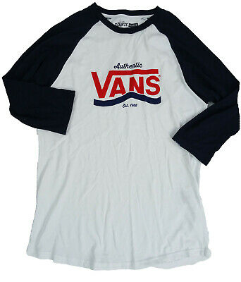 VANS Womens Navy Blue & White Cotton T-Shirt College Varsity (MEDIUM) • 9.99£