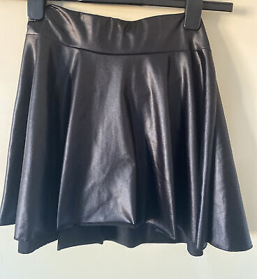 Faux Leather Wet Look Skater Skirt Size 8-12 • 1£