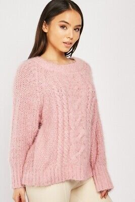 Slouchy Cable Knit Jumper Dusty Pink Size 12/14 Womens Girls • 10£
